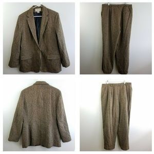 Evan Picone Suit Blazer & Pants Wool Blend Size 16